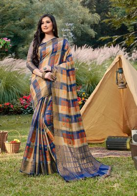 Sangam Prints Blue & Beige Handloom Silk Zari Work Traditional Saree