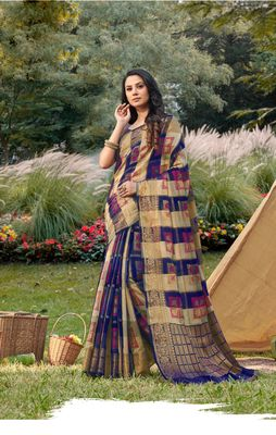 Sangam Prints Blue & Cream Handloom Silk Zari Work Traditional Saree