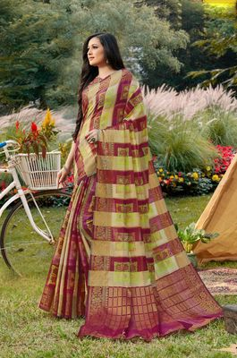 Sangam Prints Magenta Handloom Silk Zari Work Traditional Saree