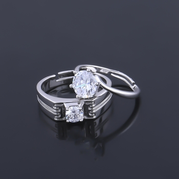 SILVERSHINE,silver plated lovely shiny diamond with adjustable designer couple ring for men and women.