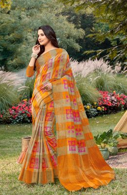 Sangam Prints Mustard Yellow Handloom Silk Zari Work Traditional Saree