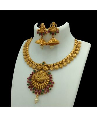 Temple South Indian  Matte Gold Goddess Laxmi Traditional Necklaces Jewellery Set