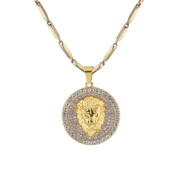 SilverPlated Stylist Classic Chain With Lion Design pendant With Diamond Studded For Men and boy Jewellery