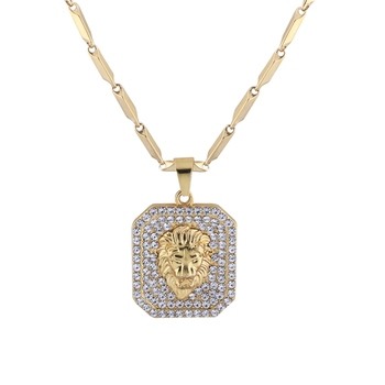SilverPlated Stylist Classic Chain With Lion Design Square pendant With Diamond Studded For Men and boy Jewellery