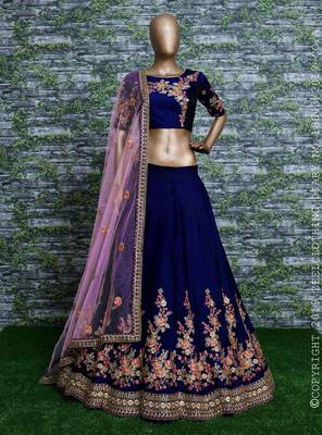 DARK BLUE EMBROIDERED SATIN SEMI STITCHED LEHENGA WITH DUPATTA