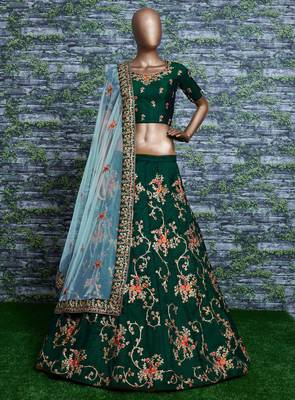 GREEN EMBROIDERED SATIN SEMI STITCHED LEHENGA WITH DUPATTA