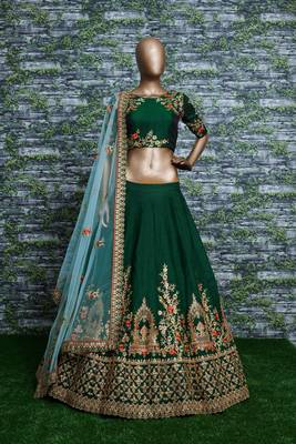 DARK GREEN EMBROIDERED SATIN SEMI STITCHED LEHENGA WITH DUPATTA