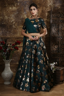 Teal Green  Metalic Foil Work  Taffeta Satin Unstitched Lehenga With Blouse
