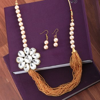 Gold Plated Traditional Multi Layer Golden Pearl Mala Set For Women And Girls