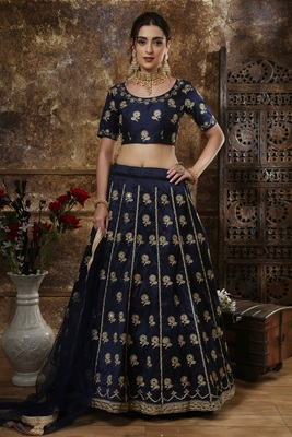 NAVY BLUE EMBROIDERED SILK SEMI STITCHED LEHENGA