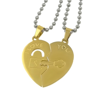 Saizen Stainless Steel Broken Heart-shaped Clover Key Puzzle Gold Plated Pendant With Chain For Unisex