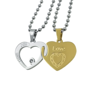 Saizen Stainless Steel Dual Heart Shape Locket Pendant With Chain For Girls and Boys Gift For Valentine