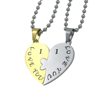 Saizen I Love With Broken Hearth Valentine Special Necklace Pendant With Chain For Couple
