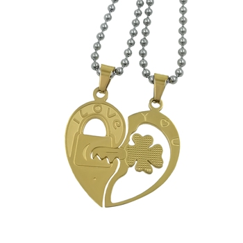 Saizen  Stainless Steel Gold Plated His & Her Heart-shape I Love You Couple Locket With Chain For Valentine