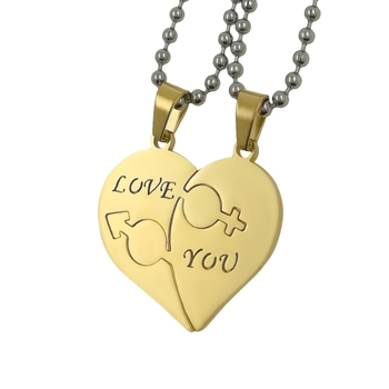 Saizen Stainless Steel Love You With Hearth Shape Valentine Gold Plated Pendant With Chain For Couple