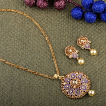 Goldplated Traditional Necklace Pendant  set  for women jewellery