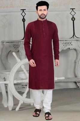 maroon stylish and fancy pleats kurta set