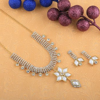 Goldplated Traditional Golden White Diamond Necklace Set  For Women Jewellery