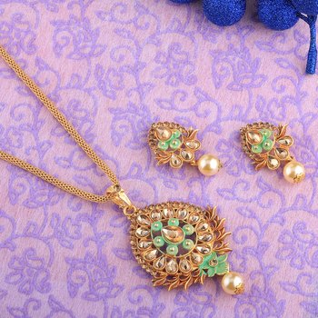 Exclusive Goldplated Traditional Necklace Pendant  set  for women jewellery
