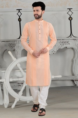 peach stylish and fancy pleats kurta set
