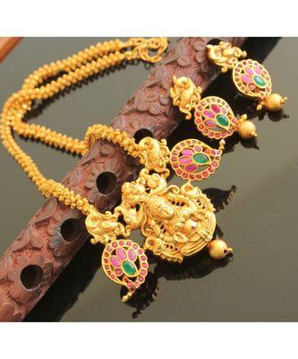 Awesome matte finish Ruby-Emerald royal necklace set