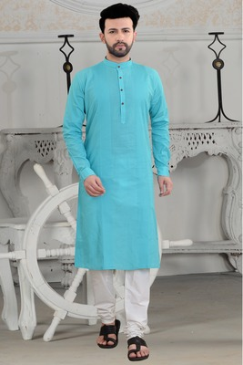 blue stylish and fancy pleats kurta set