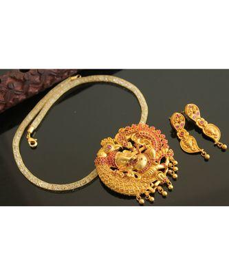 Divine matte finish Ruby Ganesha necklace set