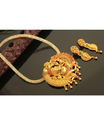 Divine matte finish ruby-emerald Ganesha necklace set