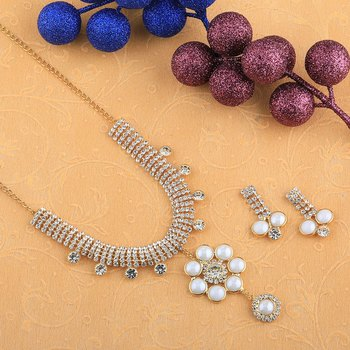 Designer Goldplated Traditional Golden White Diamond Necklace set  for women And girl