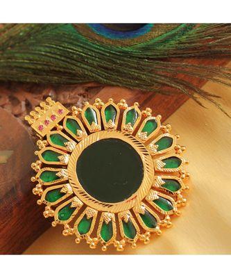 Beautiful Gold Tone Green Nagapadam Kerala Style Pendant