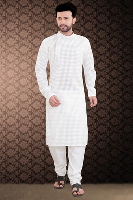 white stylish and fancy chikkankari kurta_pyjama set