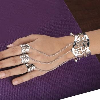 Silver Slave Chain Hand Harness Three Finger Ring Bracelet For Women