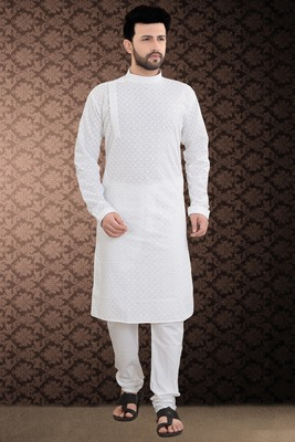 White Stylish And Fancy Chikkankari Kurta Pyjama Set