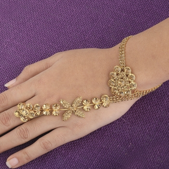 Gold Plated Designer Chain One Finger Ring Bracelet For Women