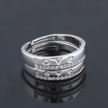 SILVERSHINE,silver plated ring simbol of love decorated of diamond adjustable couple ring for men and women.