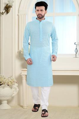 Blue Stylish And Fancy Embroidery Kurta