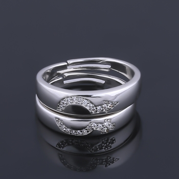 SILVERSHINE,silver plated attractive antique design with diamond adjustable couple ring for men and women.