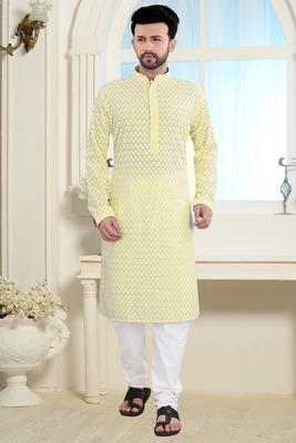 yellow stylish and fancy embroidery kurta
