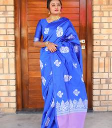 Buy Royal Blue Woven Silk Saree With Blouse