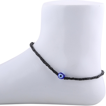 Designer Single Anklet  Black Beads for Women Girl