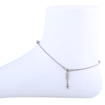 Antique Silver Plated single anklet For Girl Women