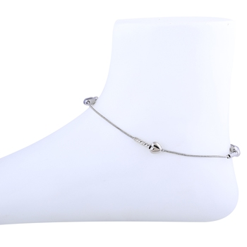 Heart Shape Silver Plated Delicate Anklet For Girl Women