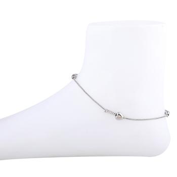 Designer Silver Plated Single Anklet  for Women Girl