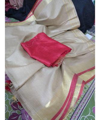 cream woven cotton handloom sarees with blouse