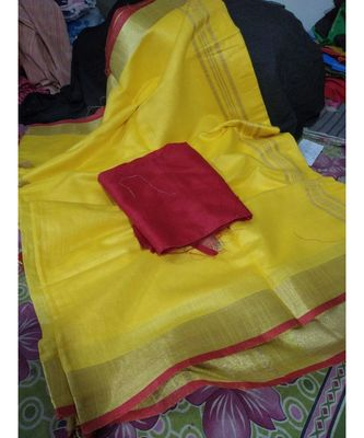 Yellow Woven Cotton Handloom Sarees With Blouse