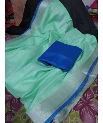 turquoise woven cotton handloom sarees with blouse