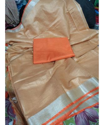 orange woven cotton handloom sarees with blouse