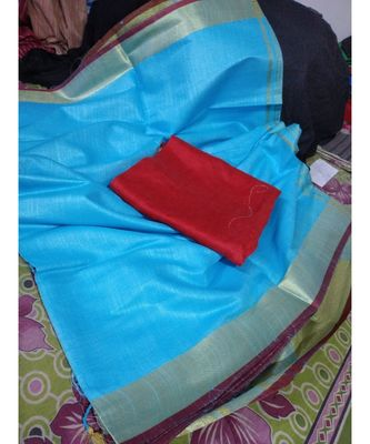 Blue Woven Cotton Handloom Sarees With Blouse