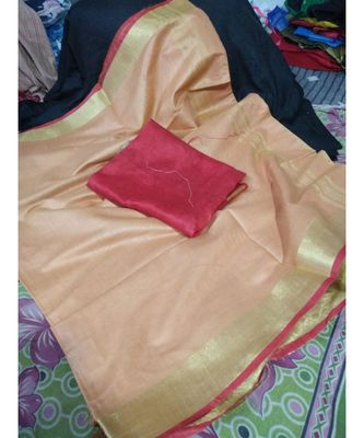 Peach Woven Cotton Handloom Sarees With Blouse