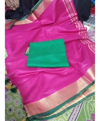 magenta woven cotton handloom sarees with blouse